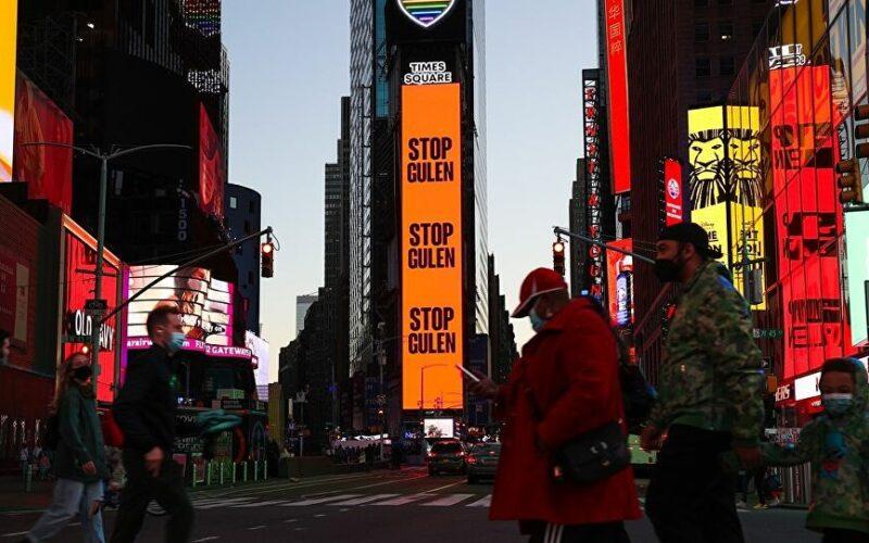 Times Meydanı'nda 'Gülen'i durdurun' ilanı